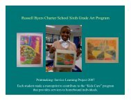 Russell Byers Charter School Sixth Grade Art Program