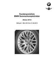 Kundenpreisliste BMW Sommerkompletträder - Christian Jakob AG