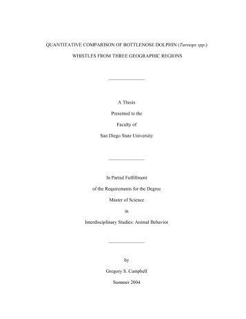 QUANTITATIVE COMPARISON OF BOTTLENOSE DOLPHIN ...
