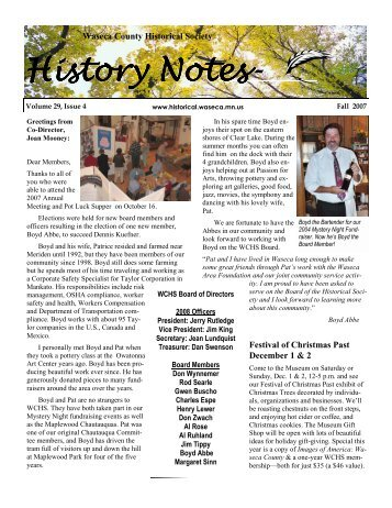 Fall - Waseca County Historical Society