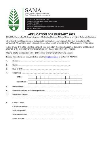 Download application form for Bursary 2013 - SANA
