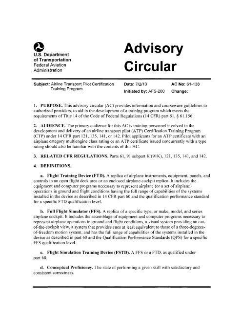AC 61-138 Airline Transport Pilot Certification - FAA