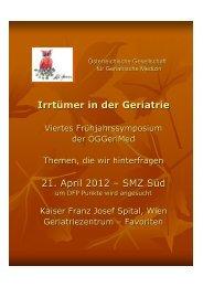 Vorprogramm 4. Symposium ÖGGeriMed 21.4.2012 - oeggerimed.at