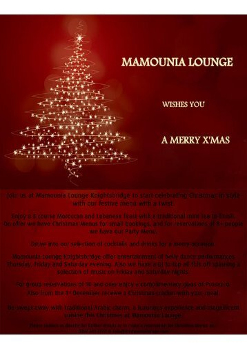 Join us at Mamounia Lounge Knightsbridge to start celebrating ...