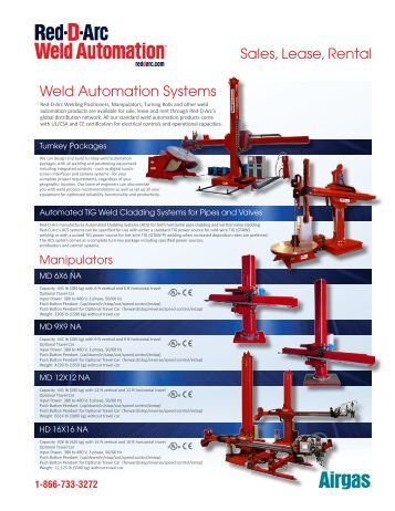 Sales, Lease, Rental Weld Automation Systems - Red-D-Arc