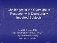 Challenges in the Oversight of Research with Decisionally Impaired ...