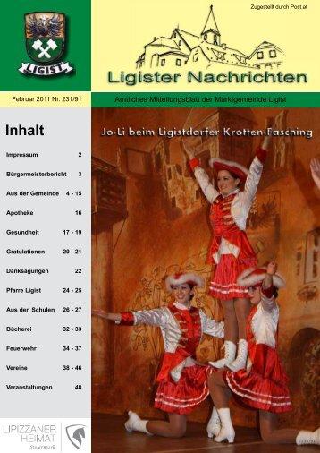 Ligister Nachrichten Februar 2011