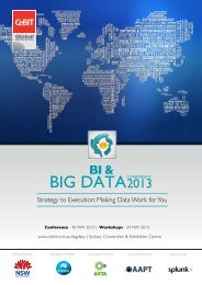 BI & BIG DATA WORkSHOPS | 29 mAy 2013 - CeBIT Australia