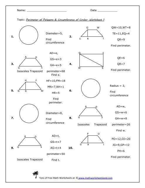 Perimeter Of Polygons Circumference Of Circles Worksheet