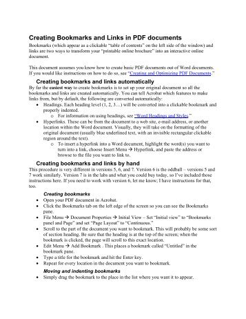 Creating Bookmarks and Links in PDF documents