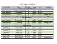 2013 Stakes Schedule
