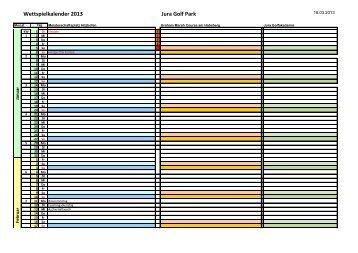 Wettspielkalender 2013 Jura Golf Park