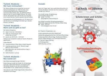 Flyer zur Technik AKademie - Antoniuskolleg Neunkirchen