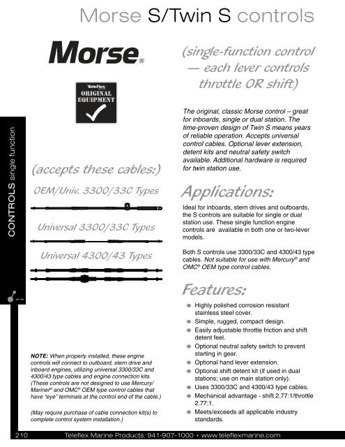 Morse S/Twin S controls