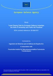 Level Playing Field Study - European Defence Agency