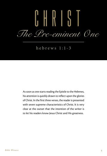 Christ: The Pre-Eminent One
