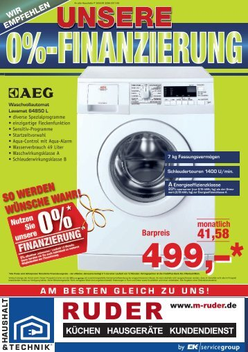 monatlich 41,58 Barpreis - RUDER Küchen-Hausgeräte-Kundendienst