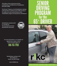 Senior Driving Brochure - Rehabilitation Institute of Kansas City
