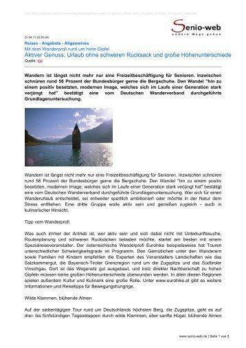 Aktiver Genuss: Urlaub ohne schweren Rucksack und ... - Senio-Web