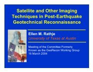 Satellite and other aerial imaging data for use in EQ reconnaissance