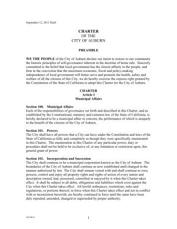 City of Auburn Draft Charter Information- Revised 9-12-11