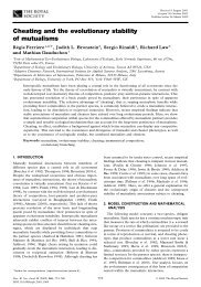 Cheating and the evolutionary stability of mutualisms - home page ...
