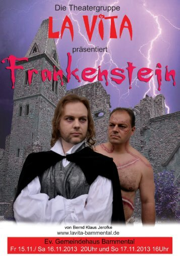 Programmheft zur Aufführung des Stücks Frankenstein - La Vita