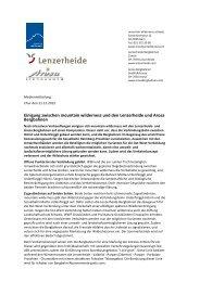 Einigung zwischen mountain wilderness und den Lenzerheide und ...