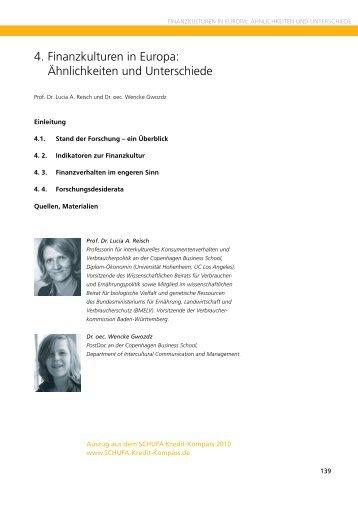 Finanzkulturen in Europa - SCHUFA-Kredit-Kompass.de