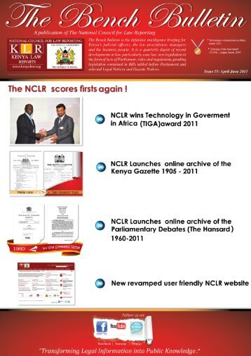 Bench Bulletin - Issue 15 - Kenya Law Reports