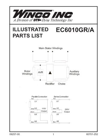 60701 118 parts list and wiring diagram winco generators 60701 252 parts list ec6010gra winco generators swarovskicordoba Gallery