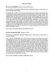 BRAVERY MEDAL 1 Mr Tony Paul AUBECK, PO Box 19, Quirindi ...
