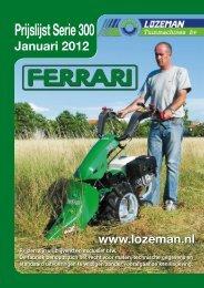 Prijslijst Serie 300 - Lozeman Tuinmachines Elst B.V.