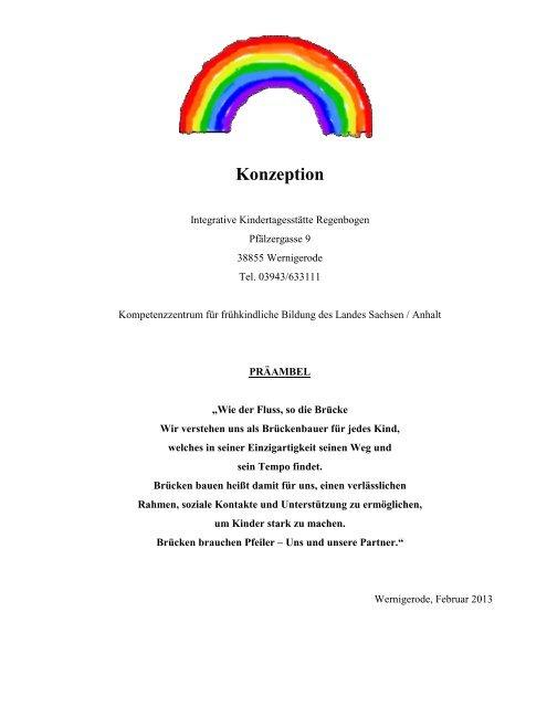 """zur Konzeption der Integrativen Kita """"Regenbogen"""" - Wernigerode"""