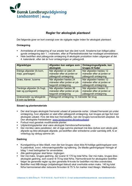 Regler for økologisk planteavl - LandbrugsInfo