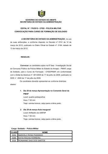 cfsd - polícia militar convocação - SEAD - Governo do Estado do ...