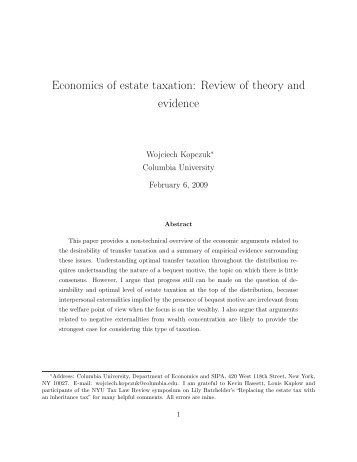 Economics of estate taxation: Review of theory and evidence