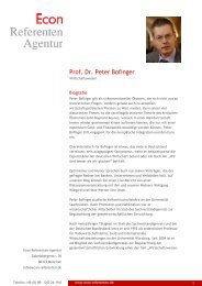 Prof. Dr. Peter Bofinger - Econ Referenten-Agentur