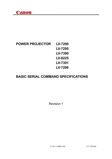POWER PROJECTOR LV-7290 LV-7295 LV-7390 ... - Canon Europe