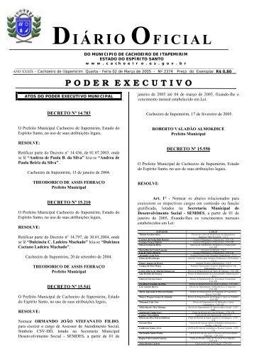 Diário Oficial nº 2.374 - 02 de março (Quarta-feira) - 54Kb
