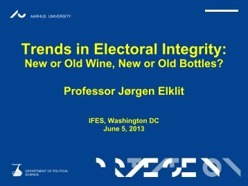 Trends in Electoral Integrity - IFES