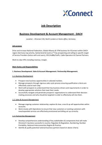 Job Description Business Development U0026 Account ...   XConnect