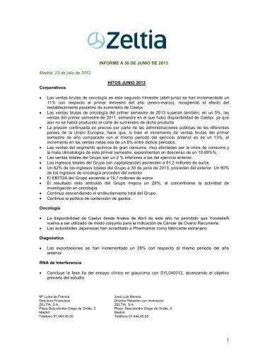 Informes de gestion intermedio - Zeltia