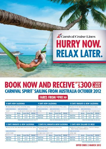 fares frOM $990* pp - Carnival Cruise Lines