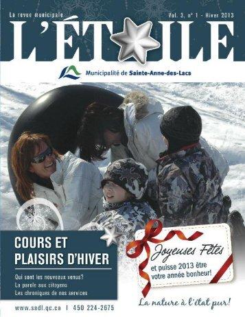 L'Étoile, Hiver 2013 - Municipalité de Sainte-Anne-des-lacs
