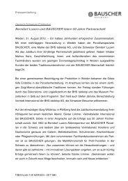 Berndorf Luzern und BAUSCHER feiern  50  Jahre Partnerschaft