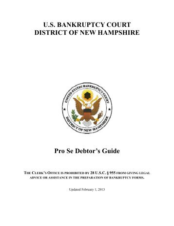 Pro Se Debtors Guide - US Bankruptcy Court