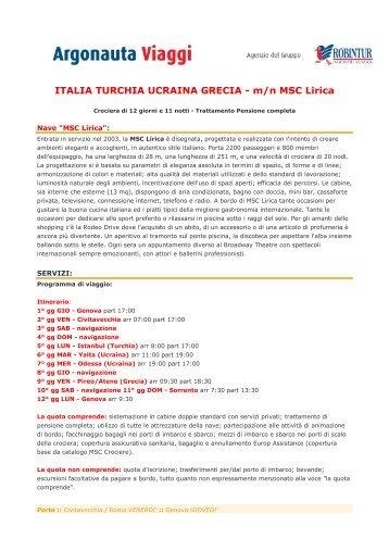 ITALIA TURCHIA UCRAINA GRECIA - m/n MSC Lirica - Robintur