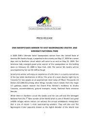 PRESS RELEASE - Tanzania Tourist Board