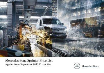 Price List September 2012 - Mercedes-Benz